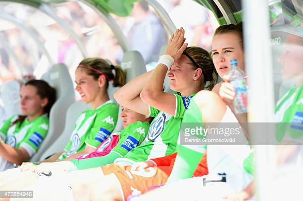 Alexandra Popp of VfL Wolfsburg reacts after the Allianz FrauenBundesliga match between 1 FFC Frankfurt and VfL Wolfsburg at Stadion am Brentanobad...