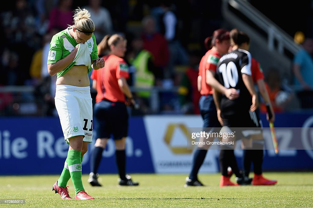 Alexandra Popp of VfL Wolfsburg reacts after the Allianz Frauen-Bundesliga match between 1. FFC Frankfurt and VfL Wolfsburg at Stadion am Brentanobad on May 10, 2015 in Frankfurt am Main, Germany.