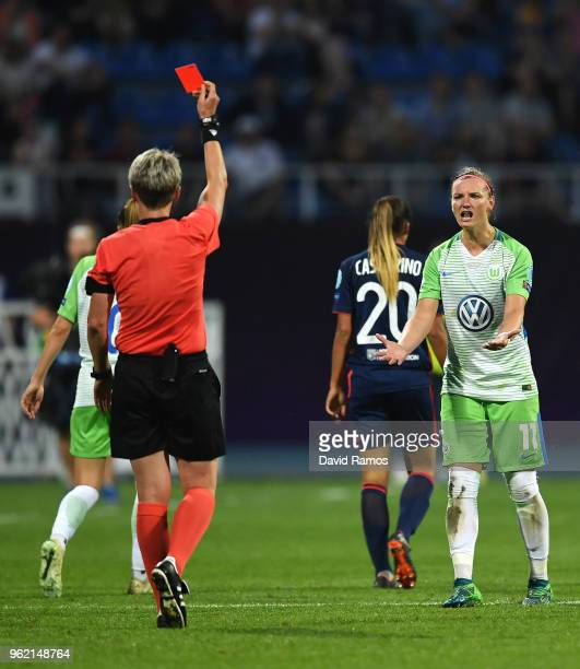 Alexandra Popp of Vfl Wolfsburg received a red card during the UEFA Womens Champions League Final between VfL Wolfsburg and Olympique Lyonnais on May...