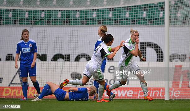 Alexandra Popp of Wolfsburg celebrates scoring her goal during the UEFA Women's Champions League semi final second leg match between VfL Wolfsburg...