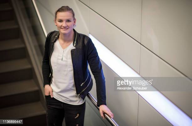 Alexandra Popp poses during the DFB Women's private portrait session on March 04 2019 in Munich Germany