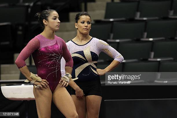 Alexandra Raisman and Alicia Sacramone during the Senior Women's competition on day two of the Visa Gymnastics Championships at Xcel Energy Center on...