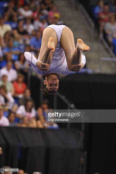 Alexandra Raisman competes in the floor event during the Senior Women's competition on day four of the Visa Championships at Chaifetz Arena on June...
