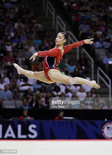 Alexandra Raisman competes in the floor exercise during Day 1 of the 2016 US Women's Gymnastics Olympic Trials at SAP Center on July 8 2016 in San...