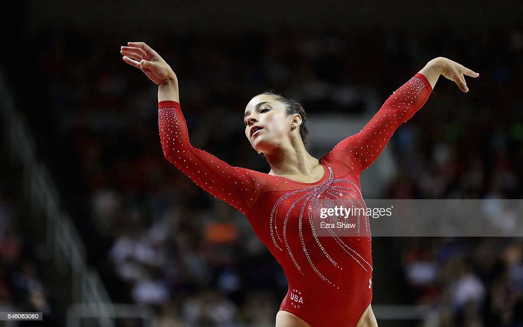 Alexandra Raisman competes in the floor exercise during Day 2 of the 2016 U.S. Women's Gymnastics Olympic Trials at SAP Center on July 10, 2016 in San Jose, California.
