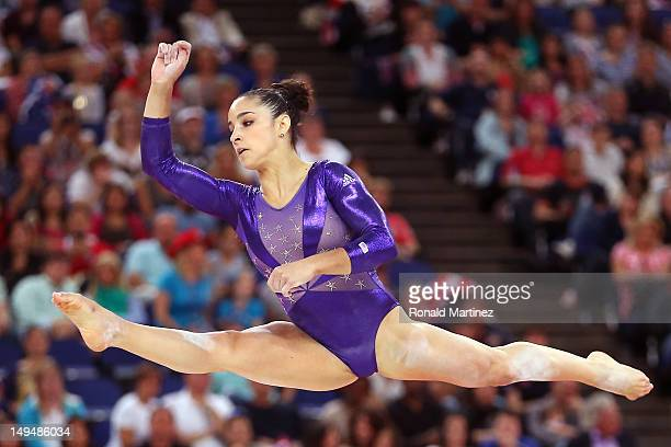 Alexandra Raisman of the United States competes in the floor exercise in the Artistic Gymnastics Women's Team qualification on Day 2 of the London...