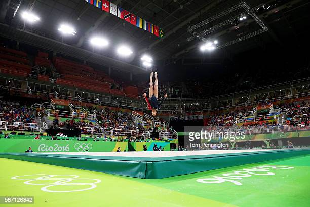 Alexandra Raisman of the United States competes on the floor during Women's qualification for Artistic Gymnastics on Day 2 of the Rio 2016 Olympic...
