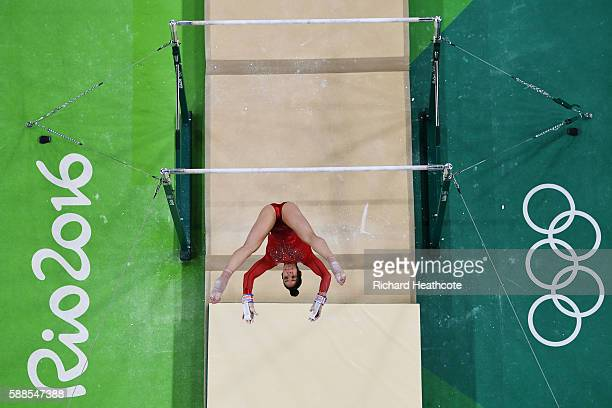 Alexandra Raisman of the United States competes on the uneven bars during the Women's Individual All Around Final on Day 6 of the 2016 Rio Olympics...