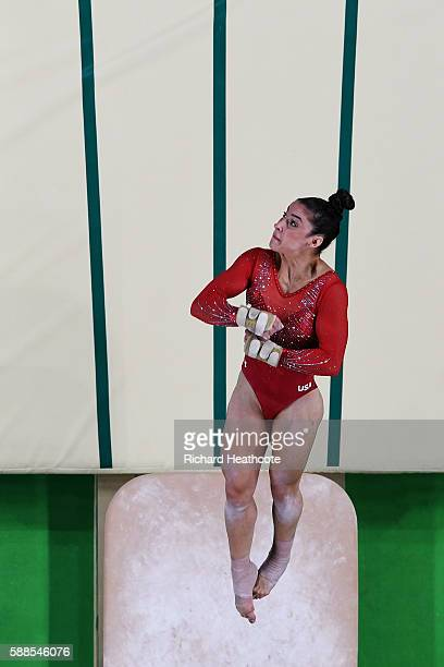Alexandra Raisman of the United States competes on the vault during the Women's Individual All Around Final on Day 6 of the 2016 Rio Olympics at Rio...