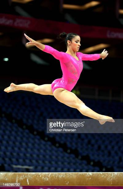Alexandra Raisman of the United States practises on the Beam during training sessions for Artistic Gymnastics ahead of the 2012 Olympic Games at...