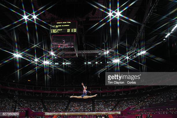 Alexandra Raisman USA in action during her Bronze Medal performance during the Women's Gymnastics Apparatus Beam final at North Greenwich Arena...