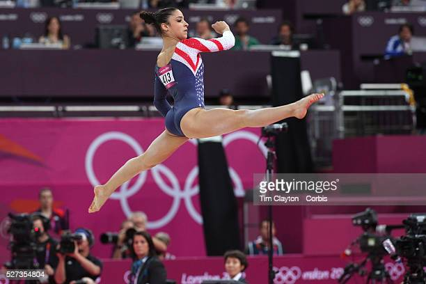 Alexandra Raisman USA in action during her Gold Medal performance in the Women's Apparatus Final Floor Exercise at North Greenwich Arena during the...