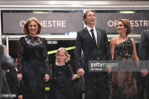 Alexandra Rapaport Mads Mikkelsen Viola Jacobsen Mikkelsen and Susse Wold attend the 'Jagten' Premiere during the 65th Annual Cannes Film Festival at...