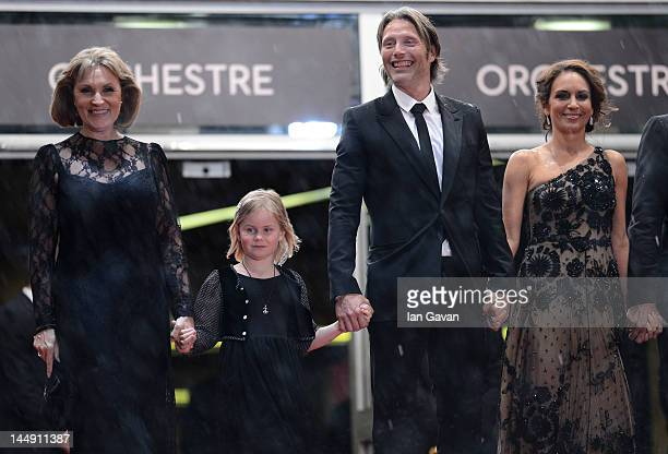 Alexandra Rapaport Mads Mikkelsen Viola Jacobsen Mikkelsen and Susse Wold attend the Jagten Premiere during the 65th Annual Cannes Film Festival at...
