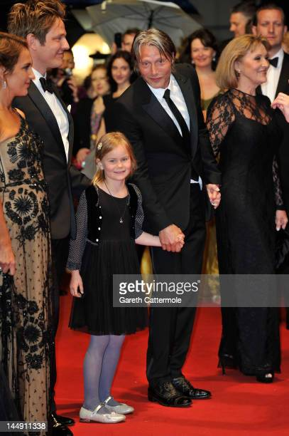Alexandra Rapaport Thomas Vinterberg Viola Jacobsen Mikkelsen and actor Mads Mikkelsen attend the Jagten Premiere during the 65th Annual Cannes Film...