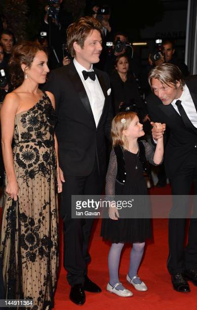 Alexandra Rapaport Thomas Vinterberg Viola Jacobsen Mikkelsen and actor Mads Mikkelsen attend the 'Jagten' Premiere during the 65th Annual Cannes...