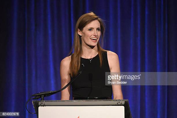 Alexandra Reeve Givens speaks on stage during the Christopher Dana Reeve Foundation hosts A Magical Evening at Cipriani Wall Street on November 17...