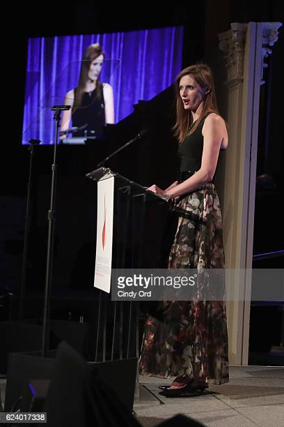 Alexandra Reeve Givens speaks on stage during the Christopher Dana Reeve Foundation hosts 'A Magical Evening' at Cipriani Wall Street on November 17...