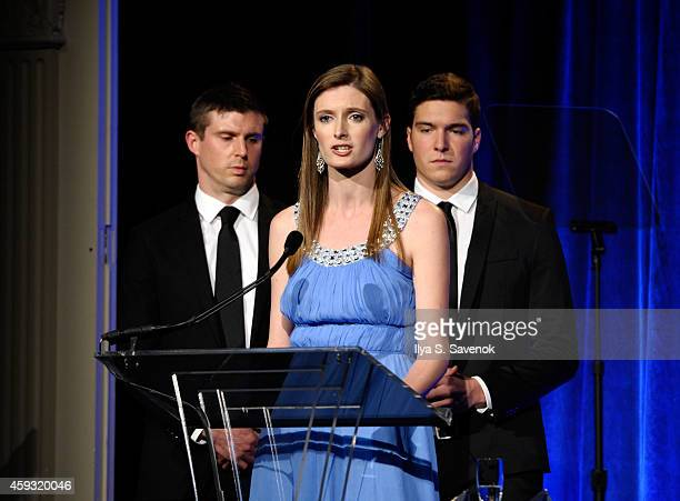Alexandra Reeve Givens speaks on stage with Matthew Reeve and William Reeve at The Christopher Dana Reeve Foundation A Magical Evening on November 20...