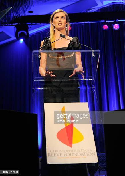 Alexandra Reeve speaks during the Christopher Dana Reeve Foundation's A Magical Evening 20th Anniversary Gala at The New York Marriott Marquis on...