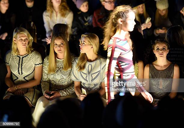 Alexandra Richards Abbie Cornish Petra Nemcova and Sami Gayle attend the Herve Leger By Max Azria Fall 2016 fashion show during New York Fashion Week...
