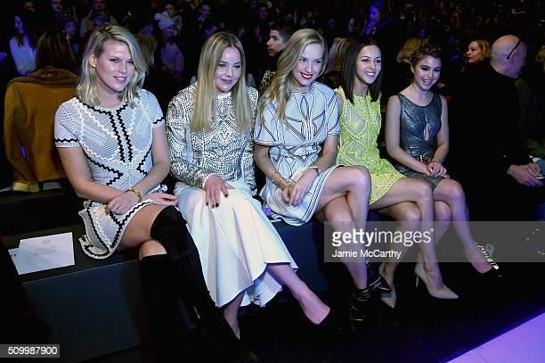 Alexandra Richards Abbie Cornish Petra Nemvoca Annet Mahendru and Sami Gayle attend the Herve Leger By Max Azria Fall 2016 New York Fashion Week The...