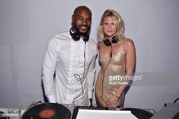 Alexandra Richards and Tyson Beckford DJ atÊPrabal GurungÕs Samsung Gear 360 Exhibition at Ocho at Soho Beach House during Art Basel on November 30...