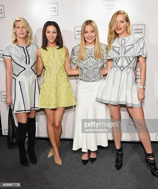 Alexandra Richards Annet Mahendru Abbie Cornish and Petra Nemcova pose backstage at the Herve Leger By Max Azria Fall 2016 fashion show during New...