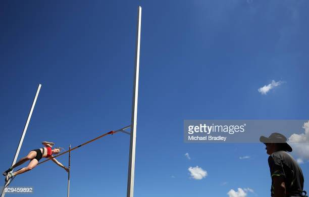 Alexandra Richards from Canterbury competes in the Under 18 Womens Pole Vault during the New Zealand Track Field Championships on March 9 2018 in...