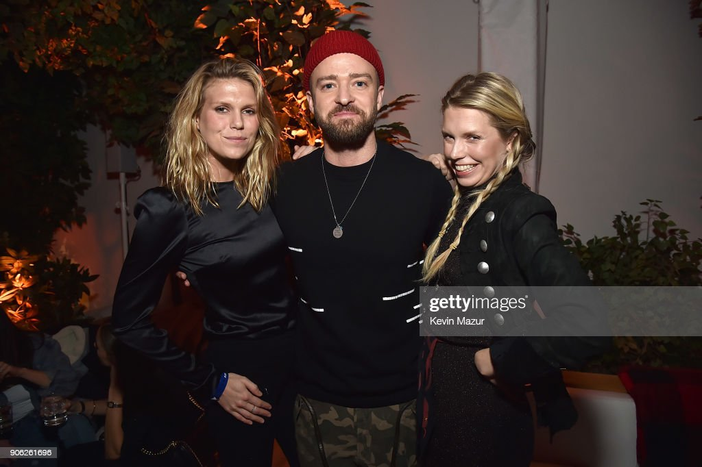 Alexandra Richards, Justin Timberlake and Theodora Richards attend American Express x Justin Timberlake 'Man Of The Woods' listening session at Skylight Clarkson Sq on January 17, 2018 in New York City.
