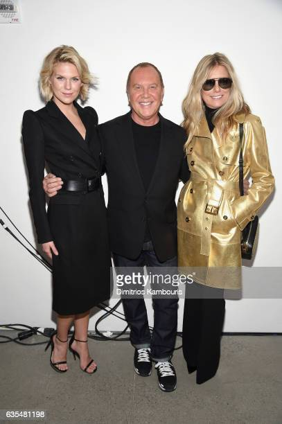 Alexandra Richards Michael Kors and Patti Hansen pose backstage before the Michael Kors Collection Fall 2017 runway show at Spring Studios on...
