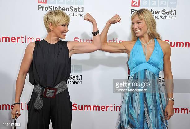 Alexandra Rietz and Christine Theiss attend the ProSiebenSat 1 Summertime at Alte Kongresshalle on July 20, 2011 in Munich, Germany.