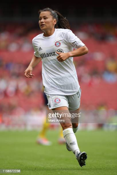 Alexandra Riley of Bayern Munich during the Emirates Cup match between Arsenal Women and FC Bayern Munich Women at Emirates Stadium on July 28, 2019...