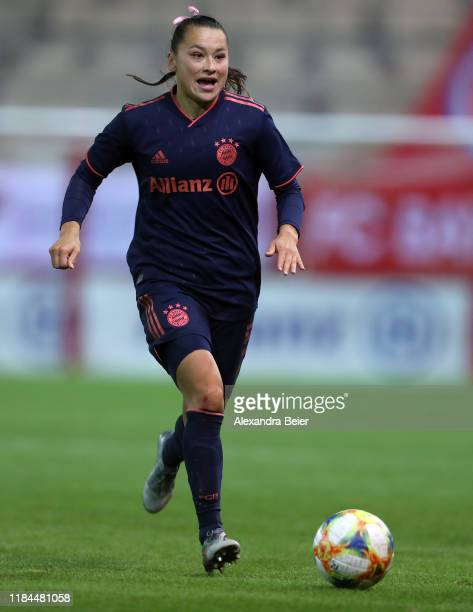 Alexandra Riley of FC Bayern Muenchen kicks the ball during the UEFA Women's Champions League round of sixteen second leg match between FC Bayern...
