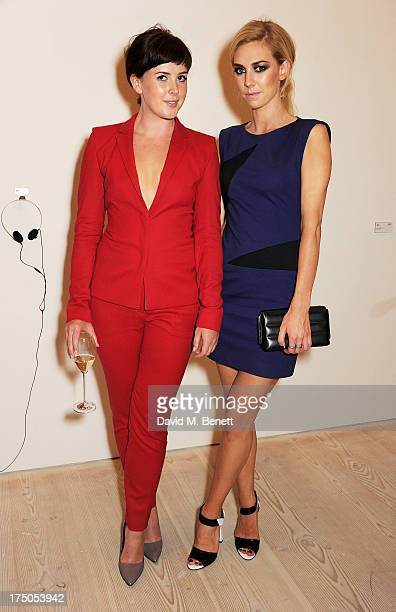 Alexandra Roach and Vanessa Kirby attend a private view of 'HUGO Red Never Follows' celebrating 20 years of Hugo Boss at the Saatchi Gallery on July...