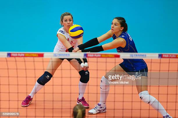 Alexandra Rochelle and Helena Cazaute of France during the CEV European League match at Salle Colette Besson on June 11 2016 in Rennes France