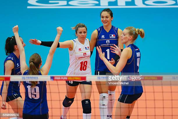 Alexandra Rochelle of France and Helena Cazaute of France during the CEV European League match at Salle Colette Besson on June 11 2016 in Rennes...