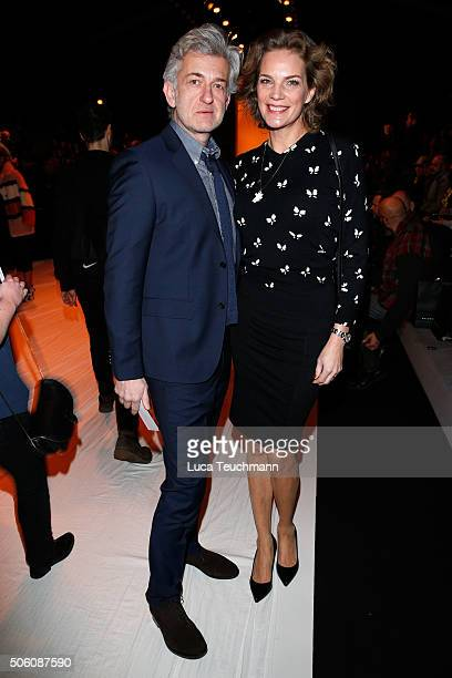 Alexandra Rohleder and Dominic Raacke attend the Baldessarini show during the MercedesBenz Fashion Week Berlin Autumn/Winter 2016 at Brandenburg Gate...