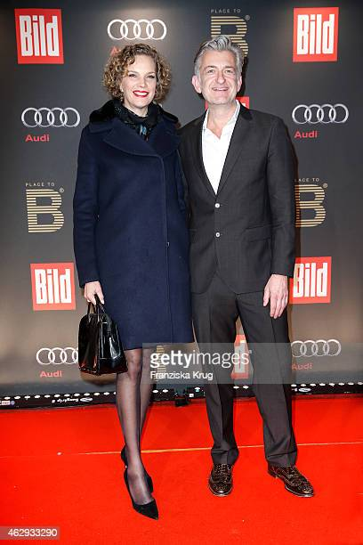 Alexandra Rohleder and Dominic Raacke attend the Bild 'Place to B' Party on February 07 2015 in Berlin Germany