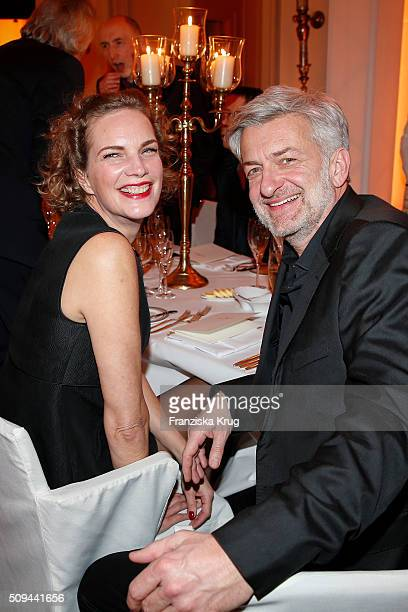 Alexandra Rohleder and Dominic Raacke attend the Moet Chandon Grand Scores 2016 at Hotel De Rome on February 6 2016 in Berlin Germany