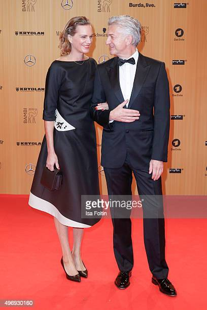 Alexandra Rohleder and Domninic Raacke attend the Kryolan At Bambi Awards 2015 Red Carpet Arrivals on November 12 2015 in Berlin Germany