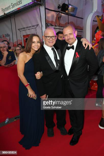 Alexandra S Roedy Bill Roedy Chairman amfAR and Gery Keszler founder Life Ball during the Life Ball 2018 at City Hall on June 2 2018 in Vienna...