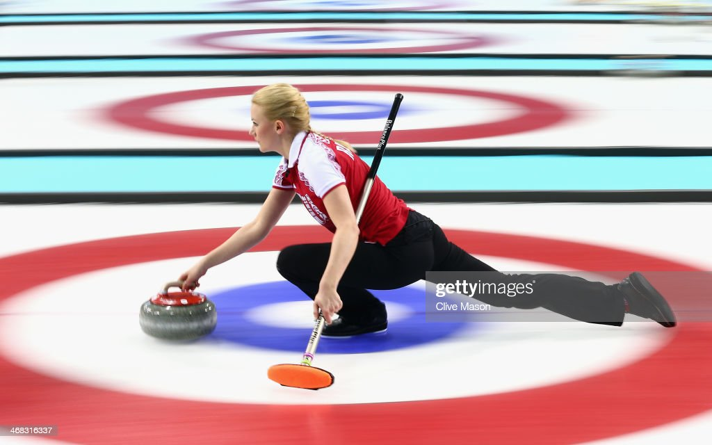 Alexandra Saitova of Russia in action during the round robin match against Denmark during day 3 of the Sochi 2014 Winter Olympics at Ice Cube Curling Center on February 10, 2014 in Sochi, Russia.