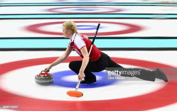 Alexandra Saitova of Russia in action during the round robin match against Denmark during day 3 of the Sochi 2014 Winter Olympics at Ice Cube Curling...