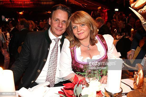 Alexandra Schoerghuber and her boyfriend Bernd Werndl during the 75th birthday party of Werner Brombach on December 29 2014 in Erding Germany