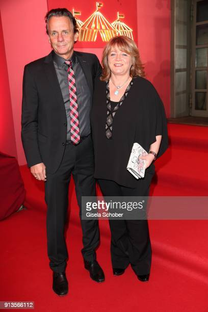 Alexandra Schoerghuber and her husband Bernd Wendl during Michael Kaefer's 60th birthday celebration at Postpalast on February 2 2018 in Munich...