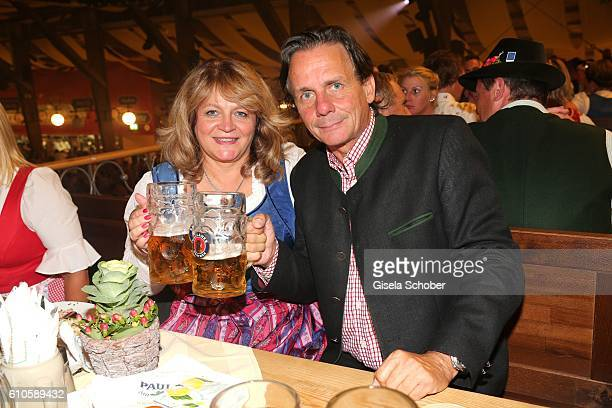 Alexandra Schoerghuber Paulaner and her husband Bernd Werndl during the Oktoberfest at Theresienwiese on September 26 2016 in Munich Germany