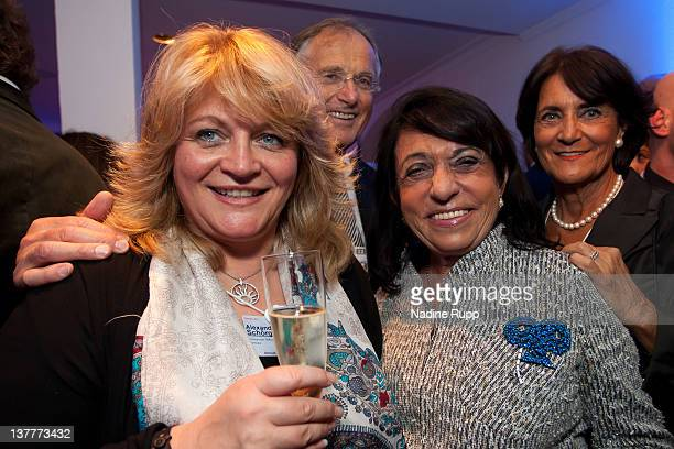 Alexandra Schoerghuber Regine Sixt and Helga Salzl attend the Burda DLD Nightcap 2011 at the Steigenberger Belvedere hotel on January 25 2012 in...