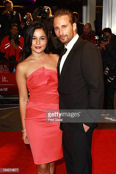 Alexandra Schouteden and Matthias Schoenaerts attends the Premiere of 'Rust and Bone' during the 56th BFI London Film Festival at Odeon West End on...