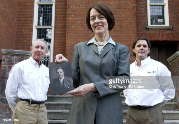 Alexandra Shackleton grandaughter of the Artic explorer Sir Ernest Shackleton with Mike Cross and his son Will outside the Royal Geographical Society...